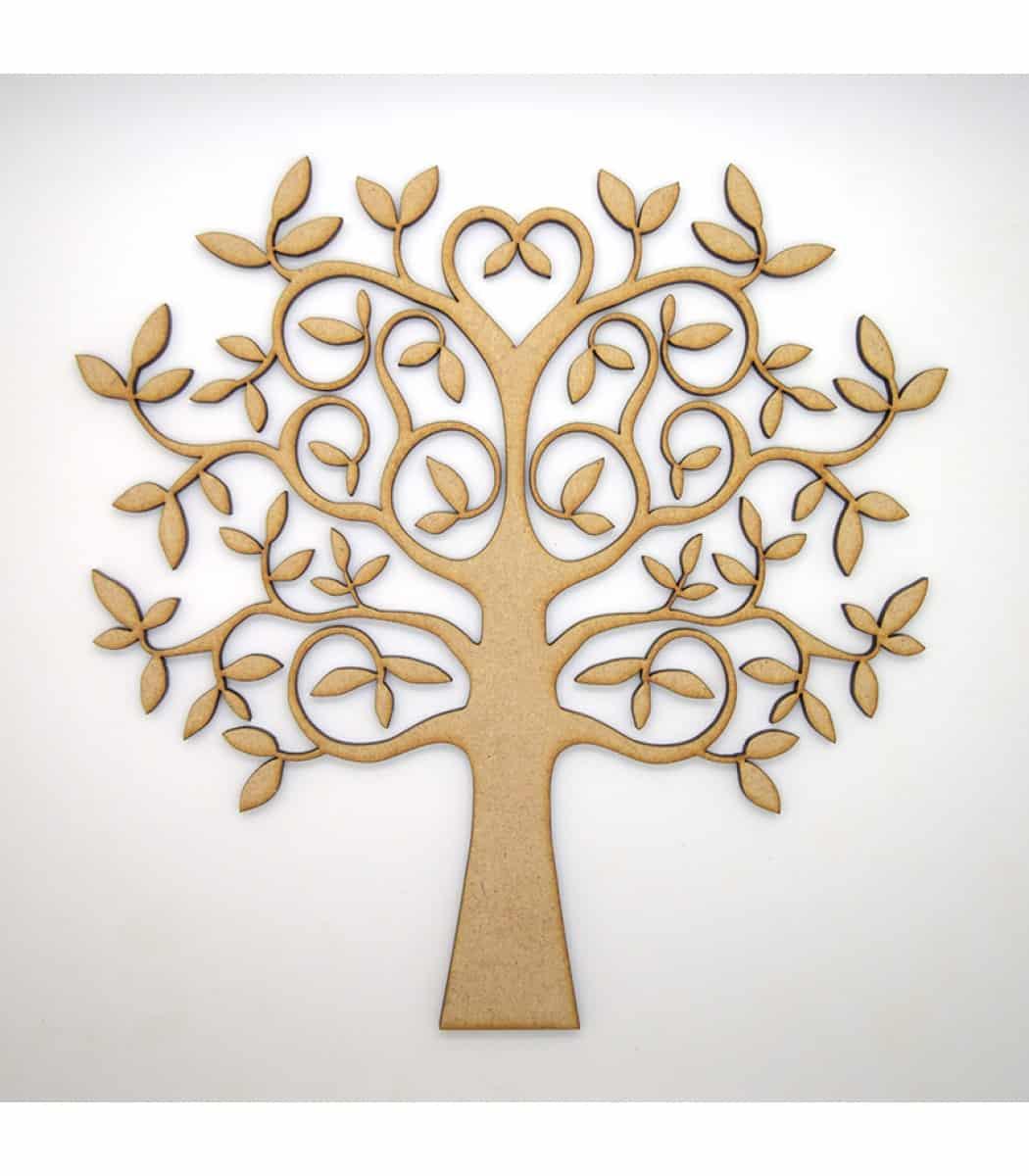 Mdf Tree Family Tree Love Shape Blank With 4 Free Hearts Mdf